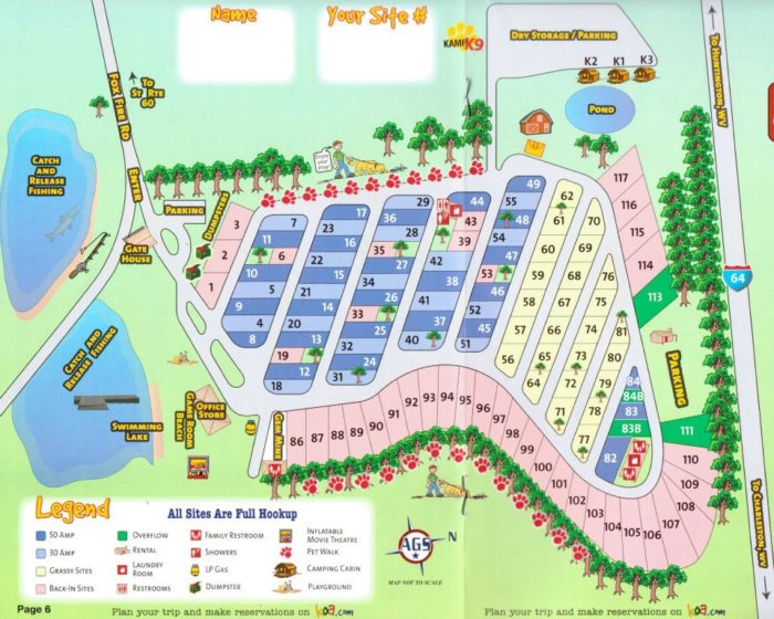 The campground offers tent sites, RV hookups, and cabins.