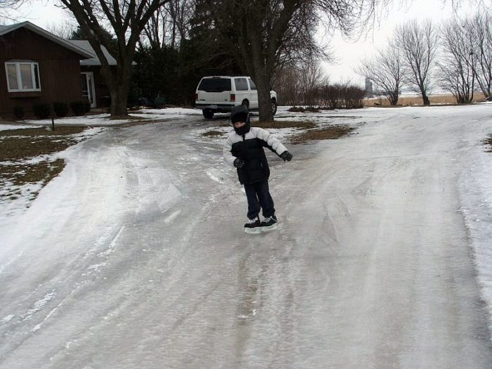 1. You've had a lake form in your front yard in early spring that turns into a skating rink by morning.