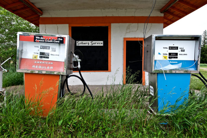 3. Nature is taking over this old gas station in Lily, South Dakota, a town that is on the brink of full abandonment.