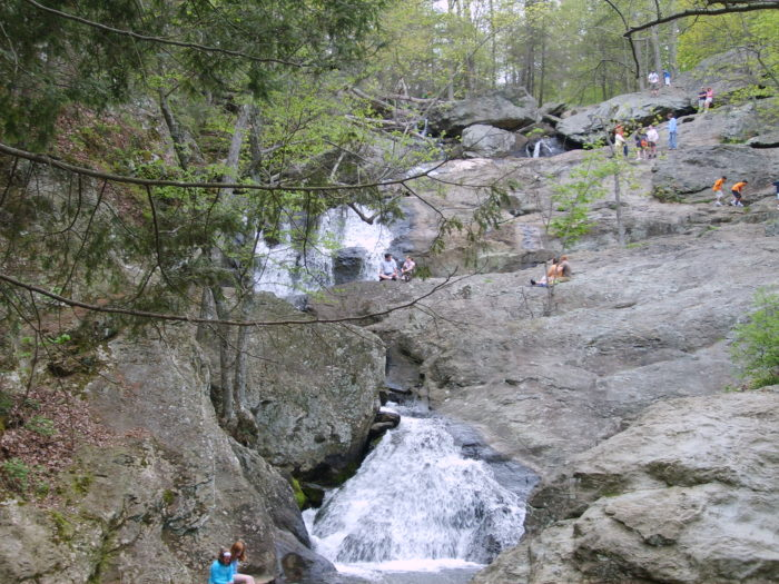 Cunningham Falls is the highest cascading waterfall in Maryland. Some people spend hours here sitting on the rocks and watching the water flow by. Perfect place for a picnic, eh?