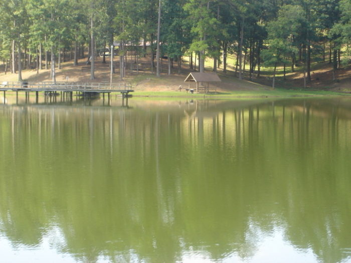 A pristine spring-fed lake is the centerpiece of Golden Memorial State Park.