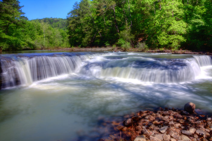 Haw Creek Falls is a spectacular 8-foot cascading waterfall.