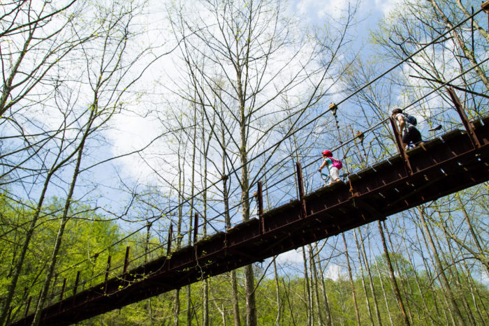 One of the most popular attractions at the park is the swinging bridge.
