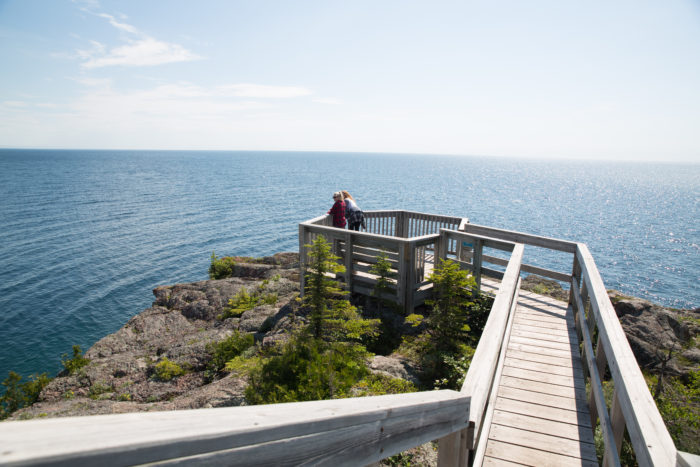 You may have to take a lot of stairs, but head all the way out to the furthest point, and you will gaze down upon MN's bluest water.