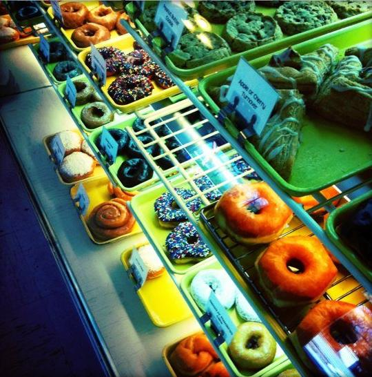Delicious homemade donuts and pastries fill the display case, making it nearly impossible to decide what to order.