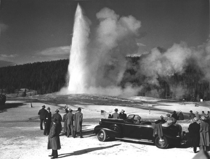 1. Franklin D. Roosevelt Views Old Faithful At Yellowstone National Park