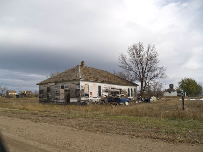 10. Wheelock, North Dakota is only recently abandoned, having still had residents in 1990. No one lives in it anymore, though, as these buildings left in the townsite show.