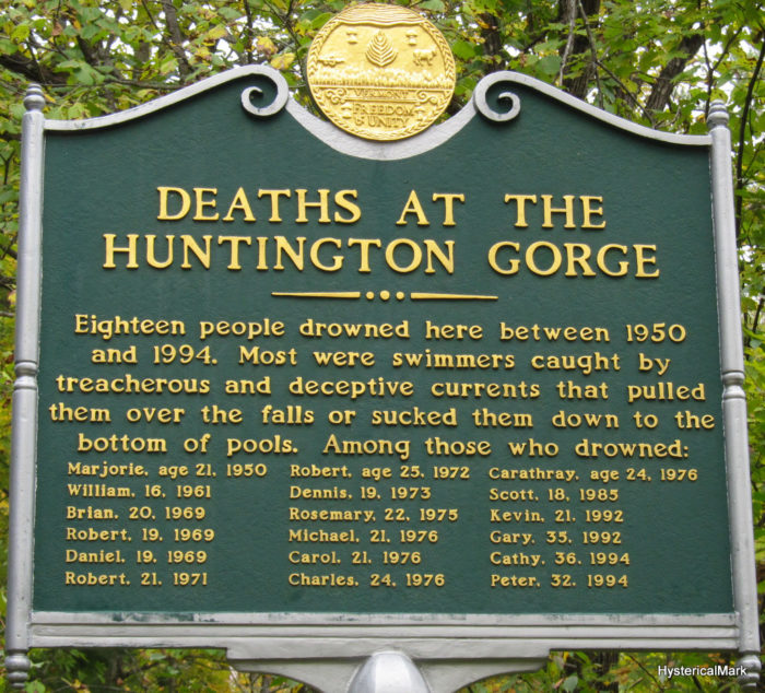 A sign remembering some of the people who have lost their lives at Huntington Gorge.