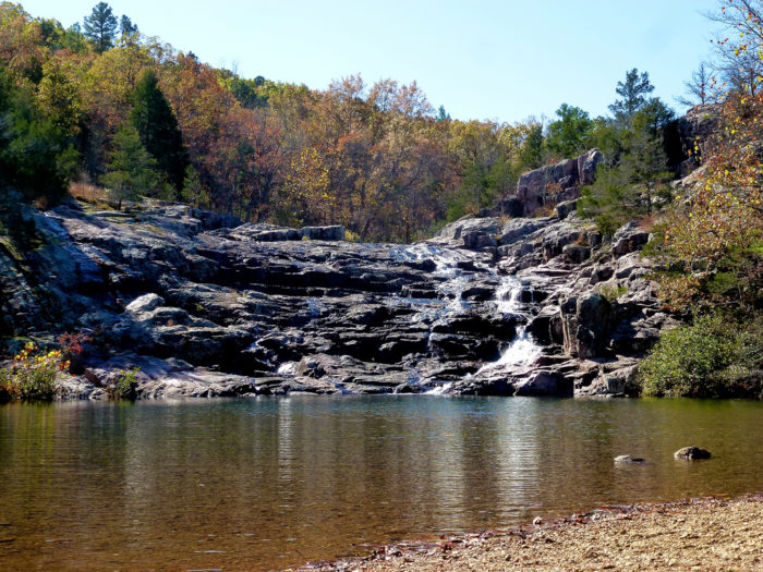 Rocky Falls is located in the Stegall Mountain Natural Area. This neat shut-in features a 40-foot cascading waterfall with a nice pool at the bottom. It's perfect for cooling off on a hot summer day.