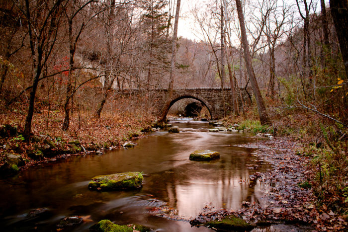 While exploring the spring, you'll find some great structures. This bridge, for example.