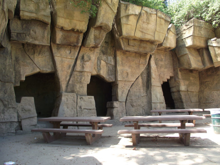 Picnic tables that once held families on a busy weekend afternoon sit empty and alone. Remember this spot? If you were a kid growing up when this zoo was open you most likely had a few picnic lunches at these tables.
