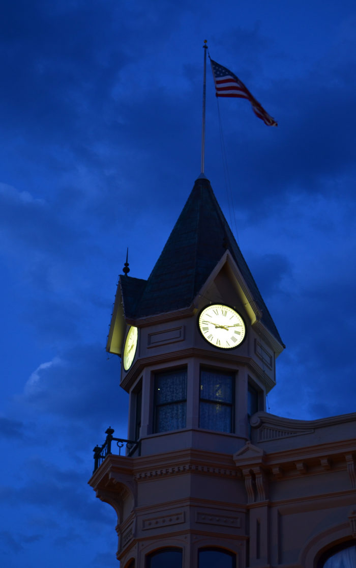 The four-story clock tower is an arresting feature, especially at night, floating over the city like a huge unblinking eye.