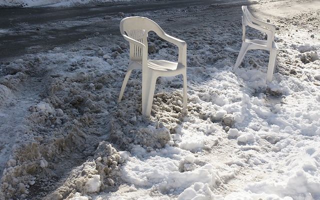 8. You use a chair to save your parking space in the winter.