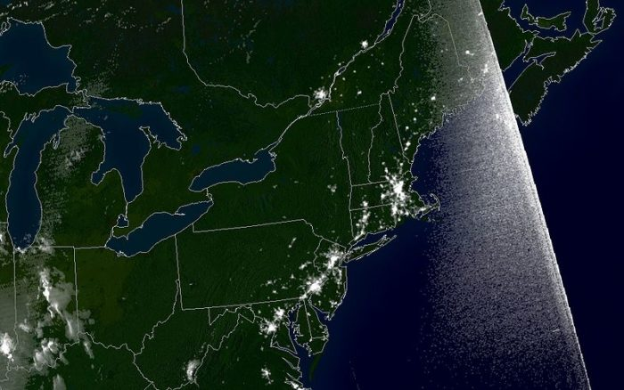 Compared to what the Northeast looked like at 9PM on August 14th, the first night of the blackout.