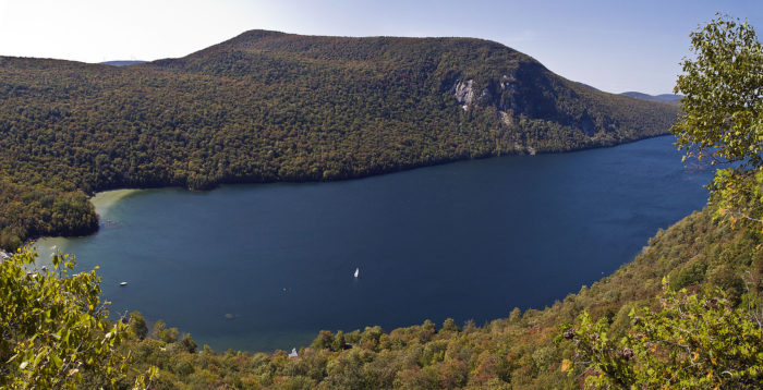 A gorgeous view of Lake Willoughby and Mt. Hor from Pulpit Rock.