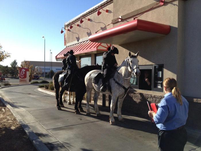 4. Waited in a drive-thru line...behind a horse.