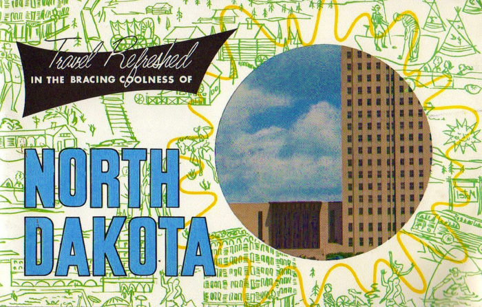 1. Travel brochure cover featuring the capital building to promote North Dakota, circa 1960s
