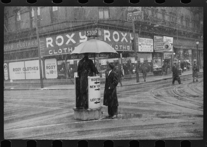 10. A photo of a rainy day in Providence in the 1930s.