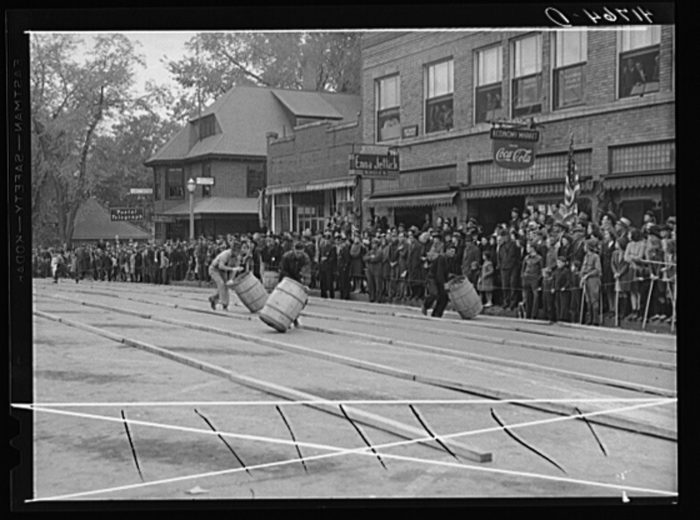 6. During an annual festival, folks took part in the beloved barrel rolling contest in Presque Isle.
