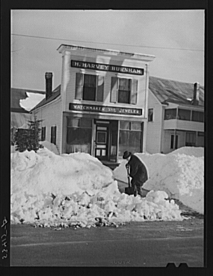 2. The snow still fell! Shopkeepers in Fryeburg shoveled paths and sidewalks.