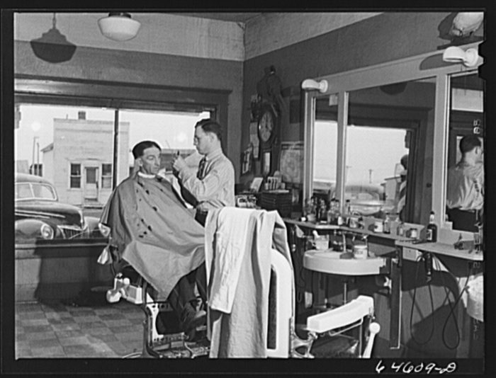 7. The barber shop in Timber Lake, South Dakota. Over 570 people lived there in 1930, today that number is just over 440