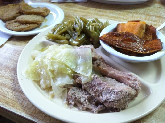 9. France's boiled pork and fried green tomatoes.