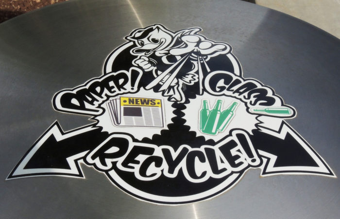1. Toss recycling into the trash can.