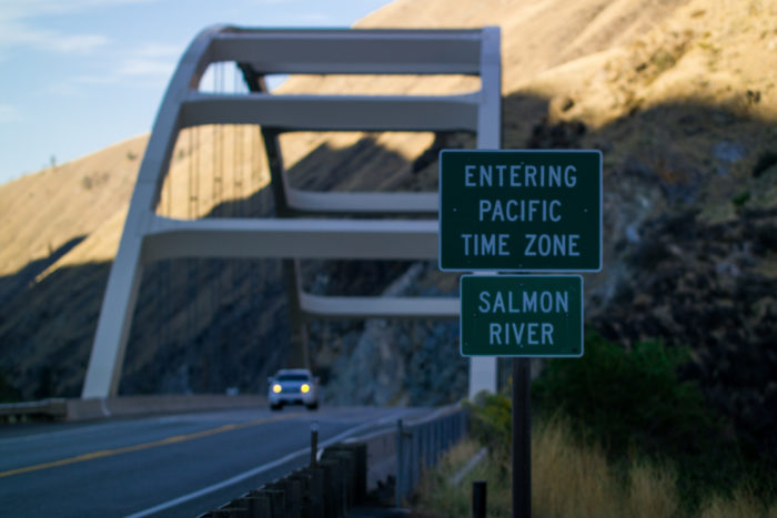 I guess that means when you're in the middle of the bridge, you're in both time zones at the same time!