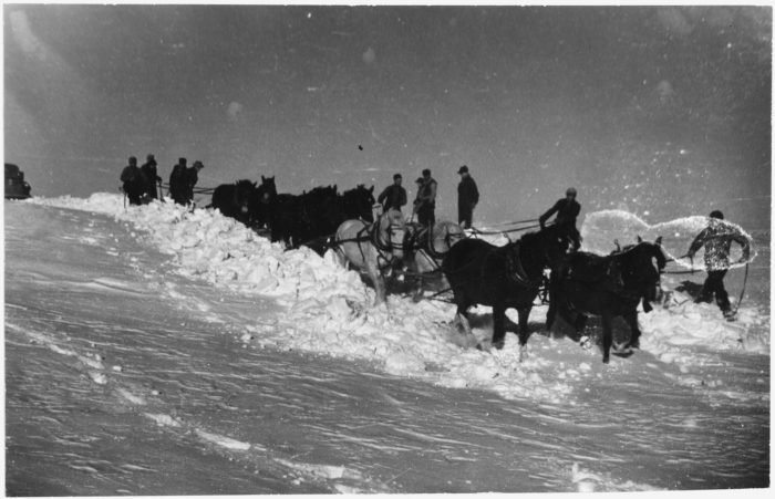 3. A team of horses attempting to pull a school bus out of the snow, Allen, SD, 1941