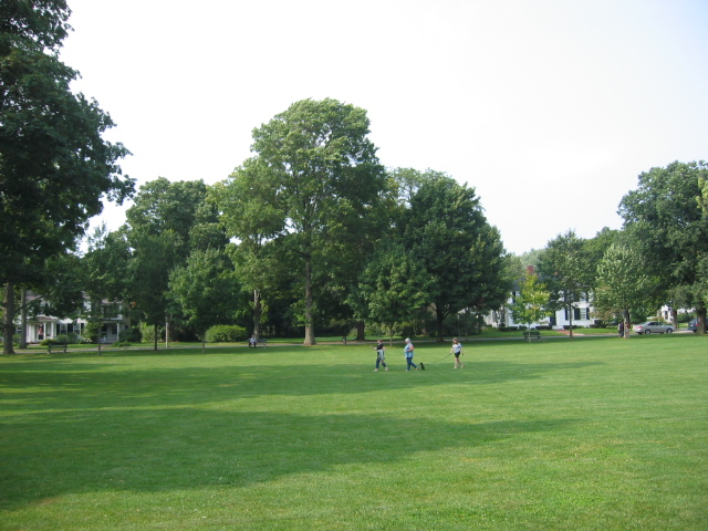 The Lexington Battle Green is where the first battle of the Revolution was fought. It now serves as Lexington's town common.