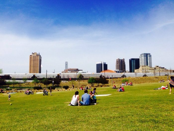 ...or hanging out at Railroad Park.
