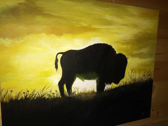 In the cabins, you'll find original artwork that features the buffalo.