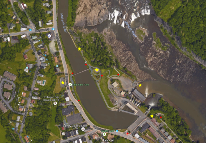Pictured below, we've mapped out where this adventure will take you while you visit Cohoes Falls.
