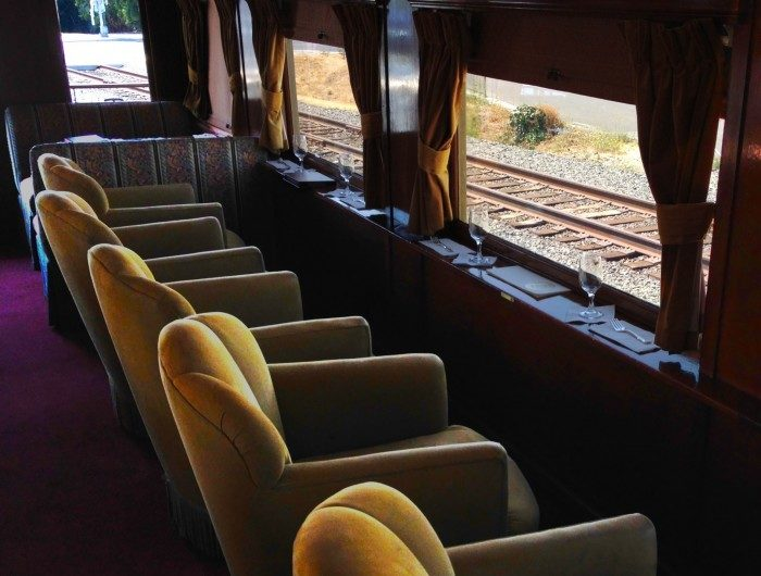 Most of the cars on the Wine Train, like this Cabernet Sauvignon Lounge Car, were built over 100 years ago as first class coaches for the Northern Pacific Railway.