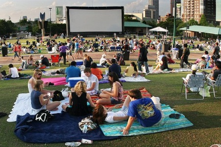 7. Ditch the movie theater for a movie at Centennial Park.