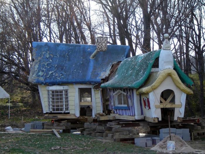 """A preservation society was formed in efforts to revive this historic gem. Slowly, structures from the abandoned Route 40 location were transferred to Clark's Elioak Farm on Clarksville Pike.   Several of the pieces were successfully restored. Here is """"the 3 bears house"""" before..."""
