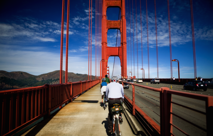 Grab your bike (or rent one) and head across the Golden Gate Bridge. After crossing, enjoy the leisurely downhill ride into the town of Sausalito. From Fisherman's Wharf, it's about an 8-mile ride. And you can always take the ferry back to San Francisco.