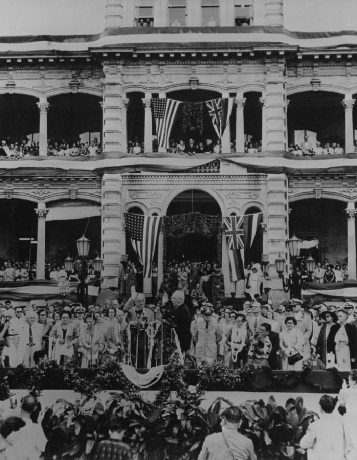 9. Hawaii Governor Samuel W. King being inaugurated in front of Iolani Palace.