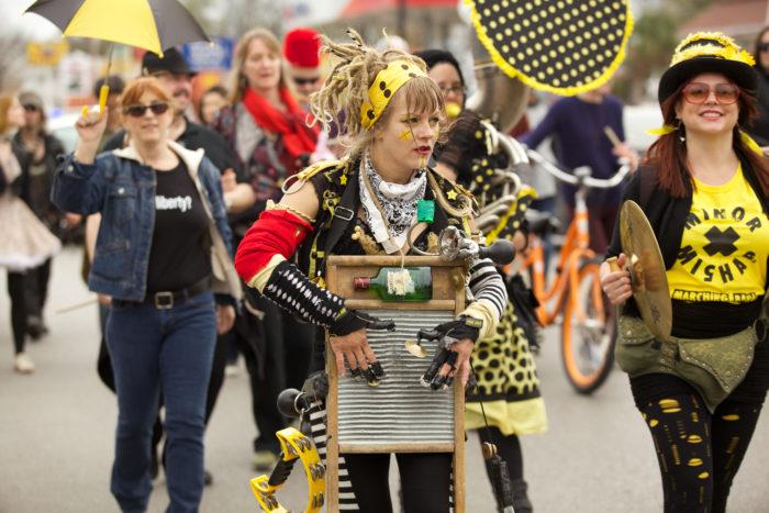 1. Walked alongside a marching band