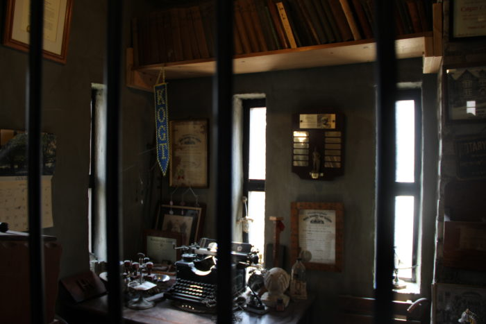 Pictures of Sir Harry Andrews and various memorabilia are displayed throughout the castle. Pictured is what was once his study.