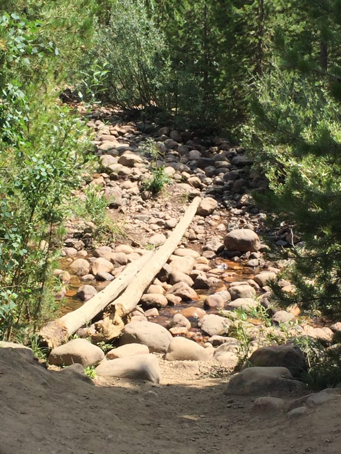 You'll cross a little stream (this requires balancing on rocks, so wear some shoes with decent tread).
