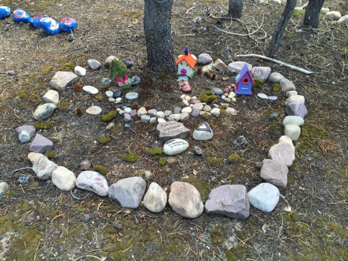 Fairy camps are laid out inside circles of rocks.