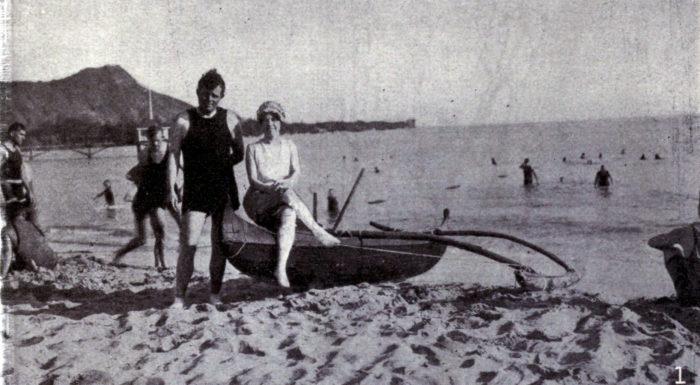 11. Jack and Charmian London enjoy a day at Waikiki Beach, 1915.