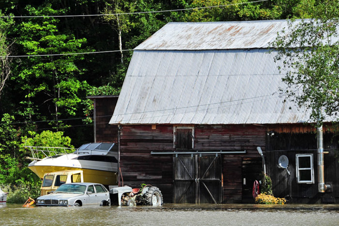A barn and equipment just off Route 2.