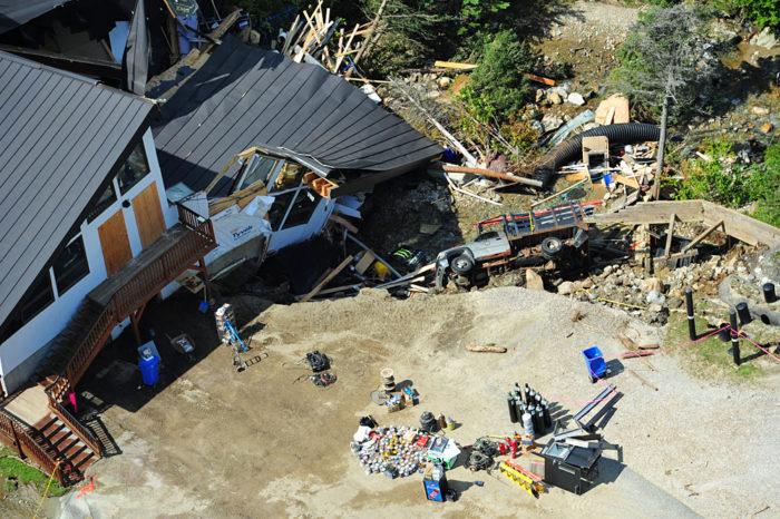 Collapsed base lodge at Killington Ski Area.