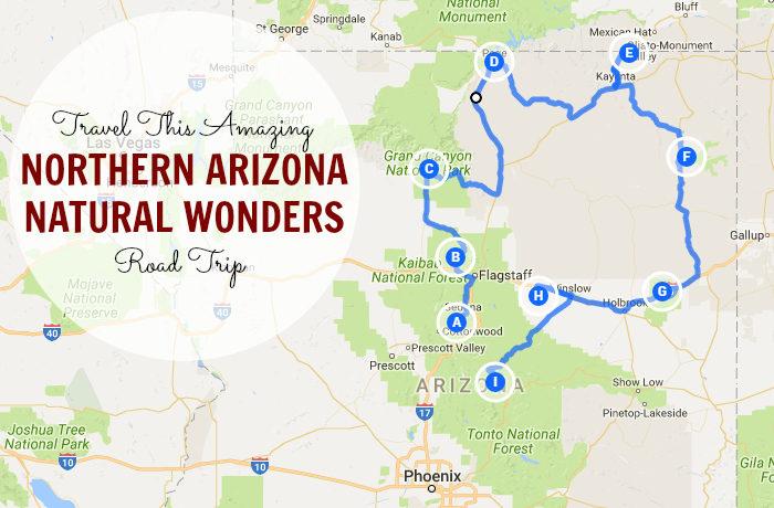 North Arizona Map.Travel This Amazing Northern Arizona Natural Wonders Road Trip