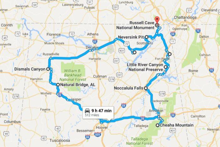 Natural Wonders Road Trip Map