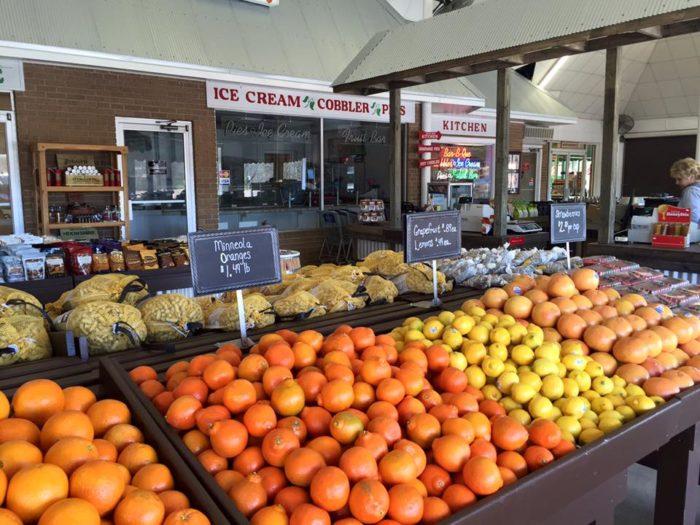 In addition to peaches, other produce items include plums, watermelons, oranges, apples, tomatoes, beans and so much more.
