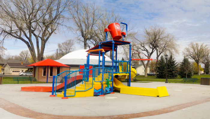The park also features a large splash pad and spray zone, as well as a water slide for those hot summer days.