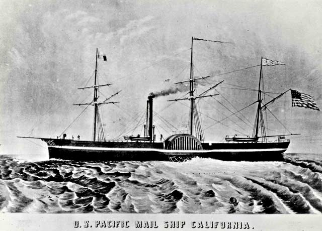 Filled with gold seekers from New York and Panama, the SS California was the first steamer to enter the Golden Gate in 1849.